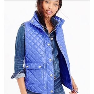 J.Crew Royal Blue Shiny Quilted Puffer Vest NWT